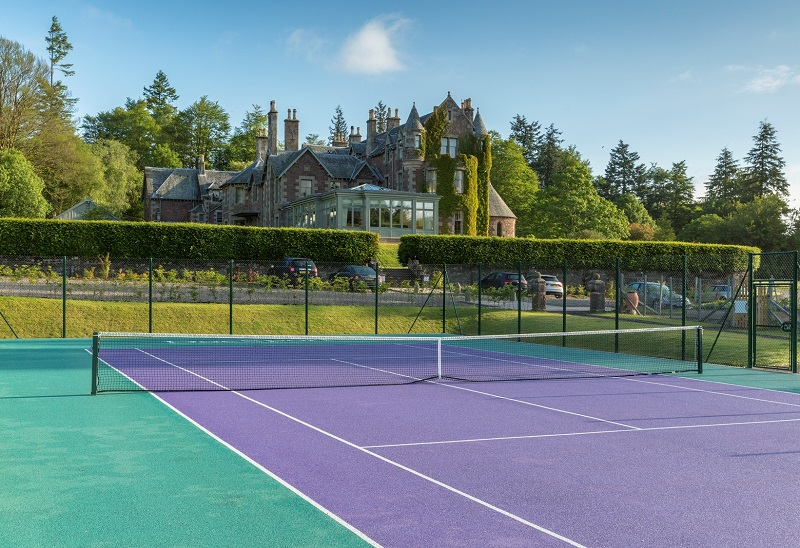 KINBUCK, UK. 27/06/2015 Architectural view over the tennis court at Cromlix House, Kinbuck, near Dunblane. COPYRIGHT © STUART WALLACE 2015 visit my website: www.stuartwallacepictures.com