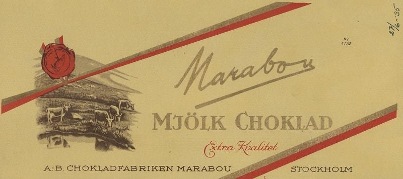 Förpackning till Marabou mjölkchoklad 1935.