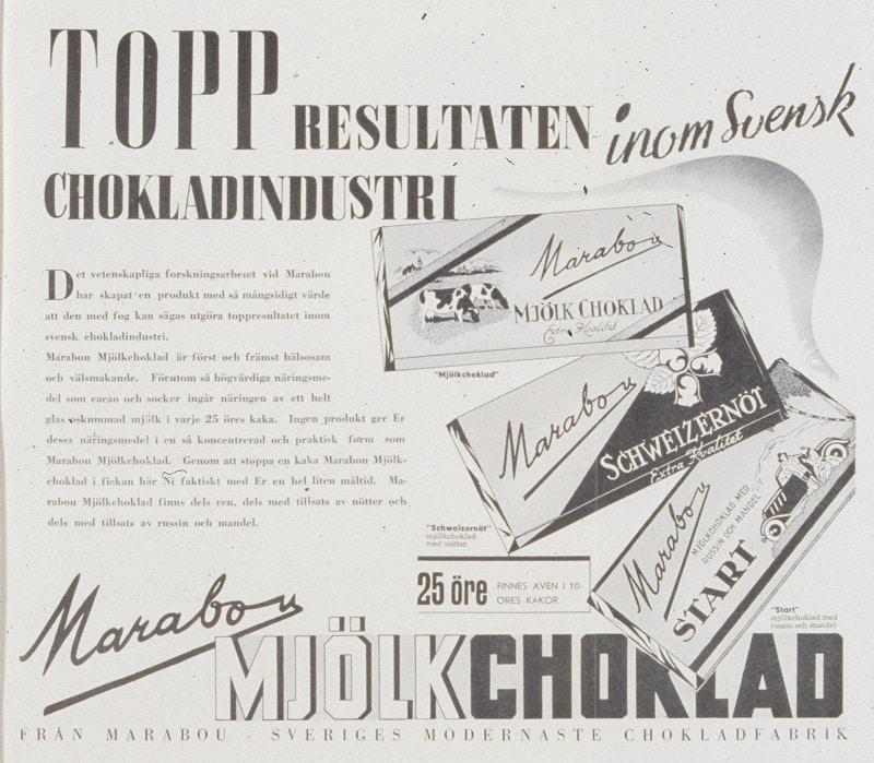 Reklamannons för Marabou mjölkchoklad från 1940.