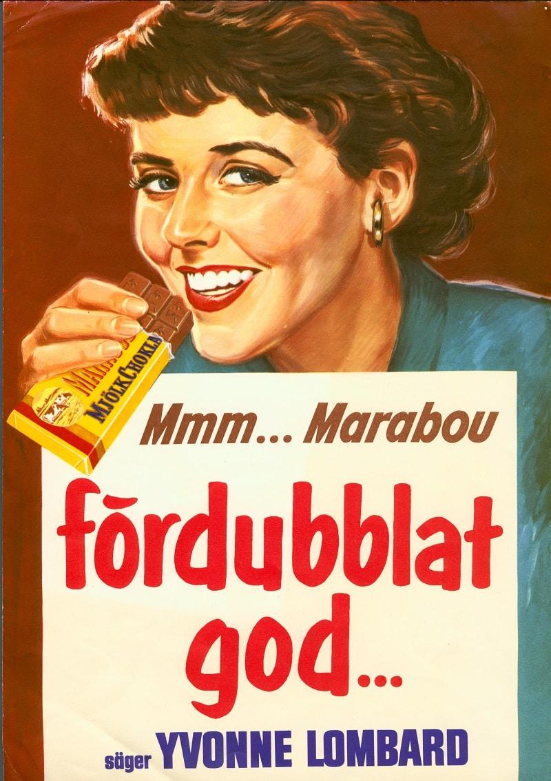 Reklambild med Yvonne Lombard från 1957.