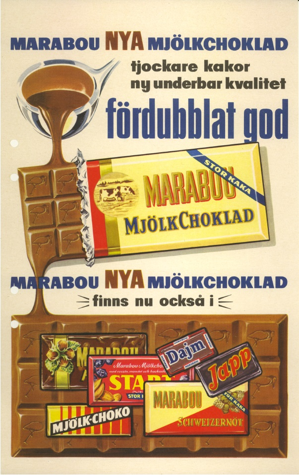 Reklambild för Marabous nya mjölkchoklad 1957.