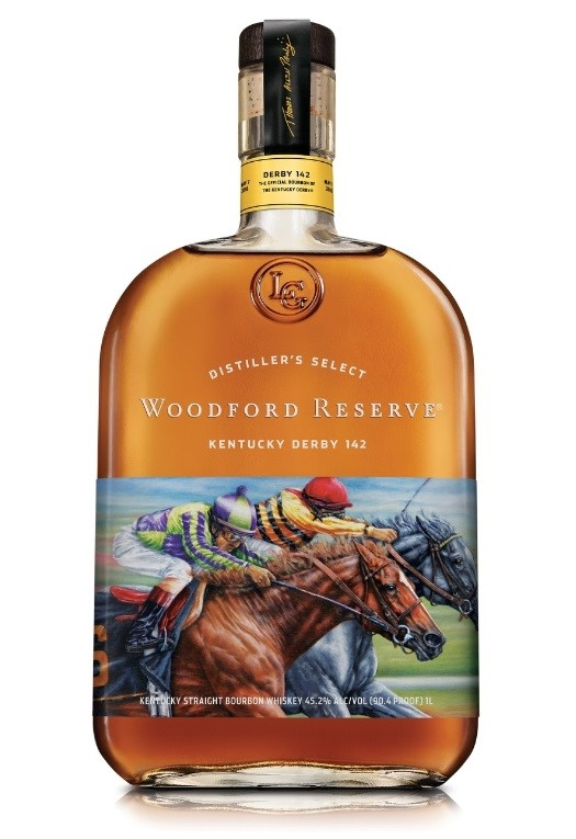 "Woodford Reserve(R), the Official Bourbon of the Kentucky Derby(R), is honoring this year's ""Run for the Roses""(TM) with the release of its 2016 Kentucky Derby commemorative bottle. This year's limited-edition Woodford Reserve Kentucky Derby bottle features artwork from award-winning equine artist Thomas Allen Pauly. (PRNewsFoto/Woodford Reserve)"