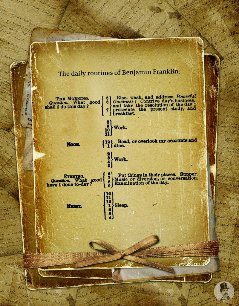 the daily routines of Benjamin Franklin