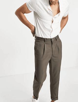 snygga byxor med hög midja och dubbla frontveck