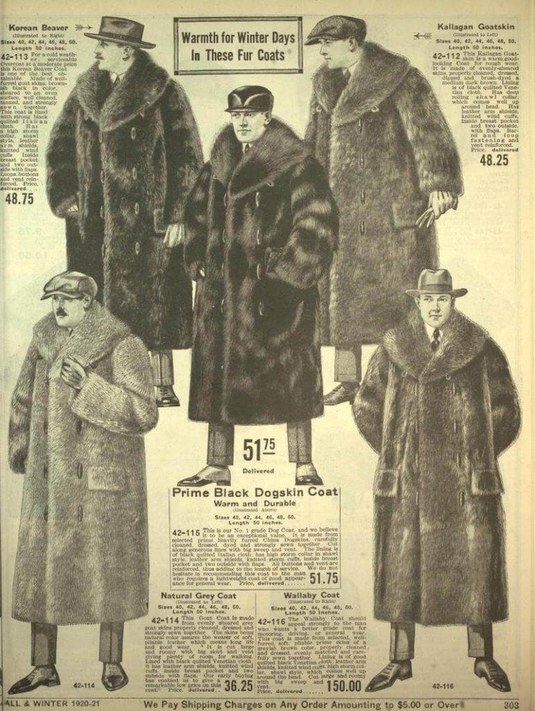 rockar i riktig päls herrmode från 1920-talet