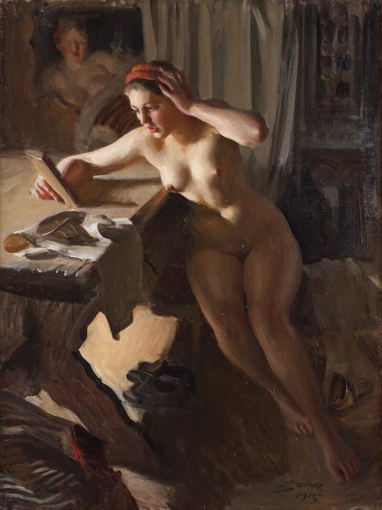 Anders Zorn målning gammal spegel från 1915