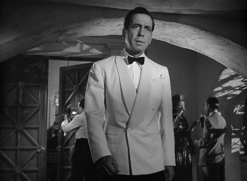 vit smokingkavaj Humphrey Bogart i Casablanca 1942