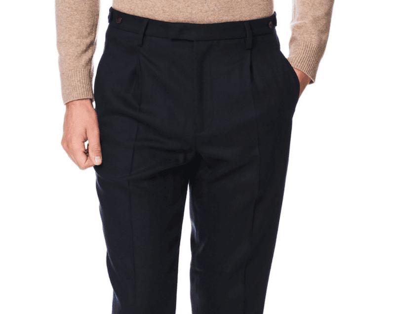 byxor med hög midja och frontveck för män vintern 2020