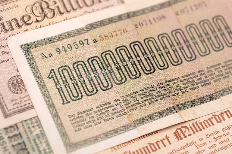 1 biljon mark Tyskland 1920-talet hyperinflation