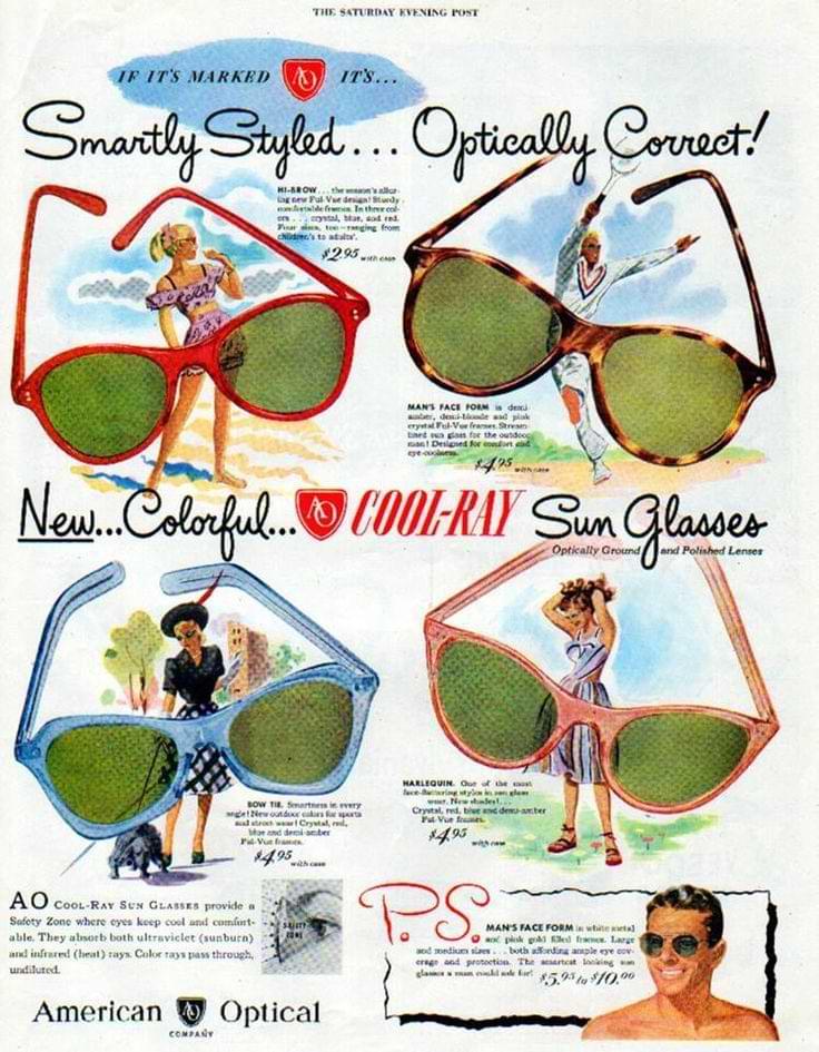 1940-talets solglasögon mode